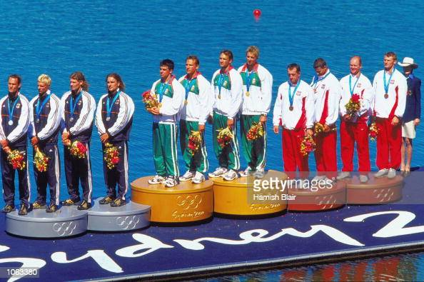 Germany Hungary and Poland celebrate on the podium after the Mens K4 1000m Kayaking at the Sydney International Regatta Centre on day 15 of the...