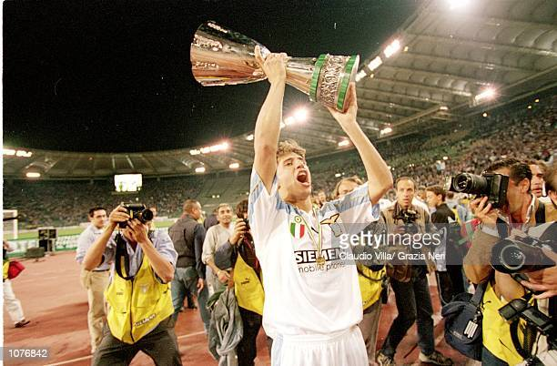 Hernan Crespo of Lazio celebrates victory after the Italian Super Cup match against Inter Milan played at the Stadio Olimpico in Rome Italy Lazio won...
