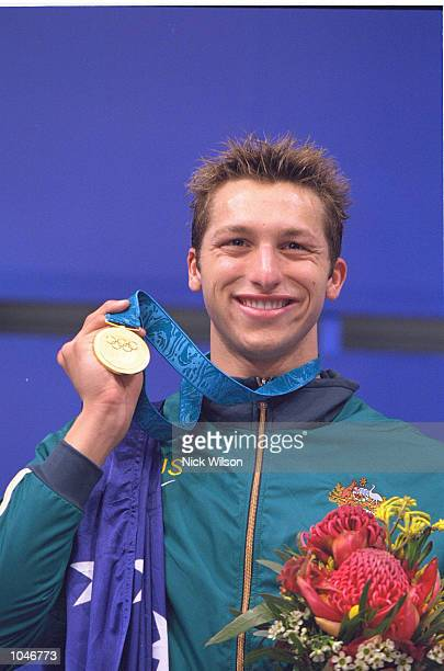 Ian Thorpe of Australia on the podium with his Gold Medal after winning the Mens 400m Freestyle final in a new World Record time of 34059 at the...