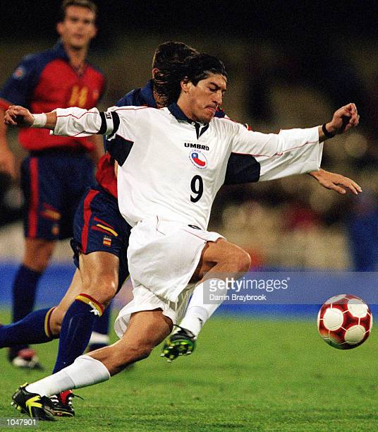 Ivan Zamorano for Chile in action during the Olympic Mens Preliminary match between the Chile and Spain played at the Melbourne Cricket Ground in...