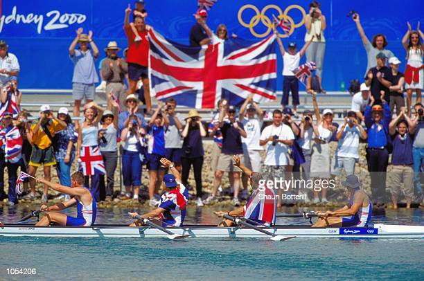 James Cracknell Steve Redgrave Tim Foster and Matthew Pinsent of Great Britain celebrate gold in the Men's Coxless Four Rowing Final at the Sydney...