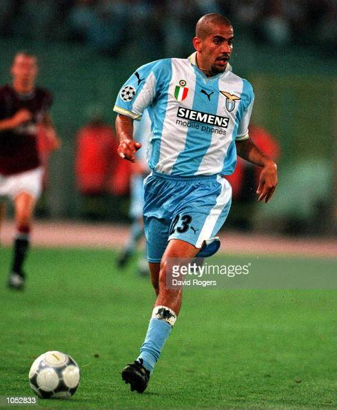 Juan Sebastian Veron of Lazio runs with the ball during the match between SS Lazio v AC Sparta Praha in the Champions League Group B played at the...