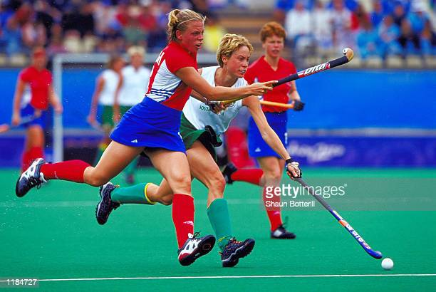 Kate Walsh of Great Britain in action during the Womens Hockey match against South Africa at the State Hockey Centre on Day Ten of the Sydney 2000...