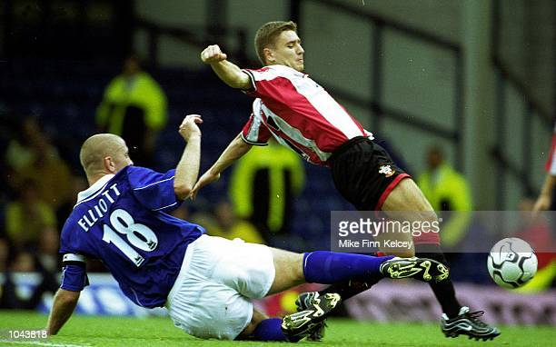 Marian Pahars of Southampton is tackled by Matt Elliott of Leicester City during the Leicester City v Southampton FA Carling Premiership match played...