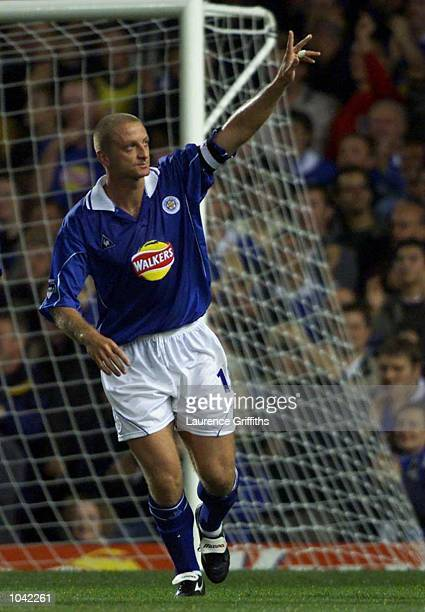 Matt Elliott of Leicester celebrates scoring during the Carling Premiership fixture between Leicester City and Ipswich Town at Filbert Street...