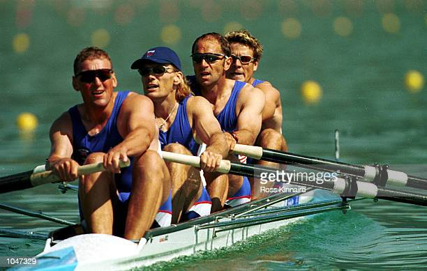 Matthew Pinsent Tim Forster Steven Redgrave and James Cracknell of Great Britain in the Men's coxless four qualifying round first heat during the...