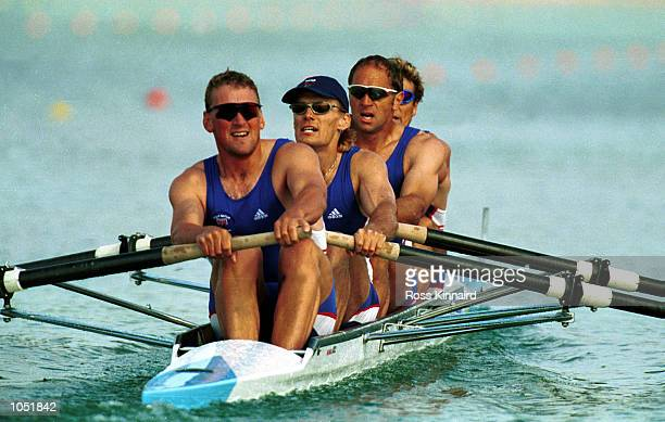 Matthew Pinsent Tim Foster Steven Redgrave and James Cracknell of Great Britain on their way to victory in the mens coxless four semifinal during the...
