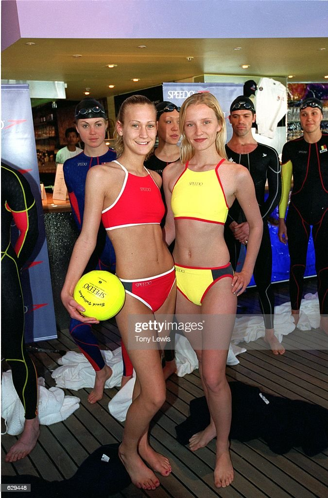 Members of the USA Women's Volleyball Team pose for the Speedo Fastskin Fashion Parade before the 2000 Olympic Games in Sydney, Austrailia.Mandatory Credit: Tony Lewis /Allsport