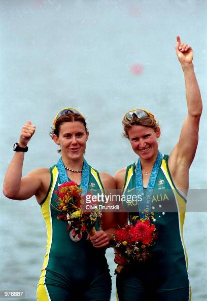 Rachael Taylor and Kate Slatter of Australia celebrate their silver medal during the Women's Coxless Pair Final held at the Sydney International...