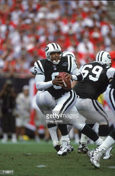 Ray Lucas of the New York Jets drops back with the ball during the game against the Tampa Bay Buccaneers at the Raymond James Stadium in Tampa...