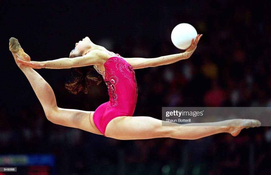 Rieko Matsunaga of Japan in action in the Rhythmic Gymnastics Individual All-Around Competition at Pavilion 3 on Day 14 of the Sydney 2000 Olympic Games in Sydney, Australia. \ Mandatory Credit: Shaun Botterill /Allsport