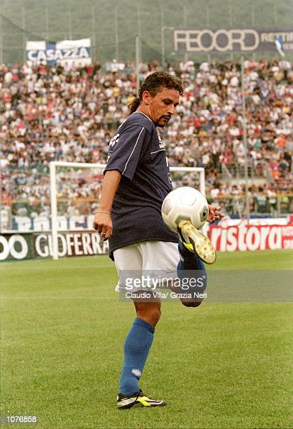 Roberto Baggio of Brescia in action before the Coppa Italia match against Juventus played at the Estadio Rigamonti in Brescia Italy The match ended...
