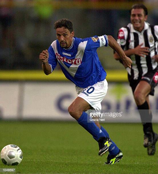 Roberto Baggio of Brescia in action during the Coppa Italia first leg match between Brescia and Juventus played in Brescia The Match finished a 00...