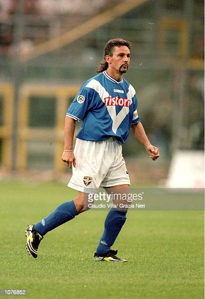 Roberto Baggio of Brescia in action during the Coppa Italia match against Juventus played at the Estadio Rigamonti in Brescia Italy The match ended...