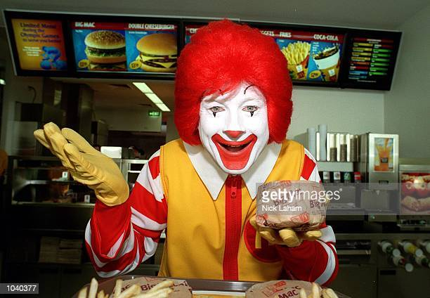 Ronald McDonald at the launch of the new McDonalds restaurant in the casual dining section of the Athlete's Village in Homebush Sydney Australia...