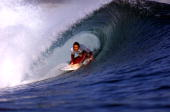 Shane Dorian of Hawaii scored an indisputable victory over current Association of Surfing Professionals world champion Mark Occhilupo of Australia to...