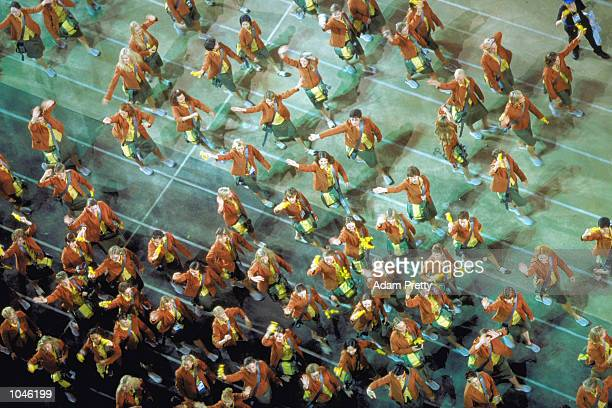 The Australian Olympic Team during the Opening Ceremony of the Sydney 2000 Olympic Games at the Olympic Stadium in Homebush Bay Sydney Australia...