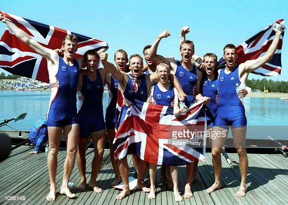 The British team celebrate their victory in the Mens Eights during the Sydney 2000 Olympic Games at Sydney International Regatta Centre Sydney...