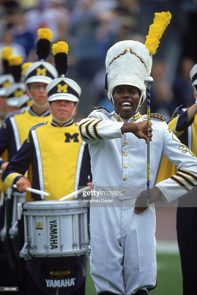 The Drum Major of the Michigan Wolverines performs during the game against the Bowling Green Falcons at the Michigan Stadium in Ann Arbor Michigan...