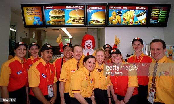 The McDonalds crew with Ronald McDonald at the launch of the new McDonalds restaurant in the casual dining section of the Athlete's Village in...