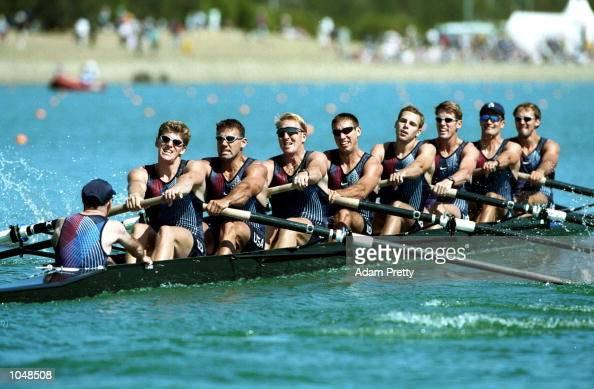 The US team in the mens eight during the Sydney 2000 Olympic Games at the Sydney International Regatta Centre Sydney Australia Mandatory Credit Adam...