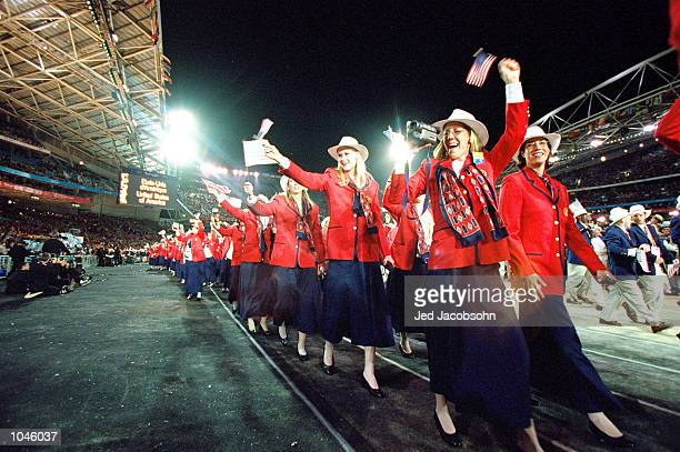 The USA Olympic Team during the Opening Ceremony of the Sydney 2000 Olympic Games at the Olympic Stadium in Homebush Bay Sydney Australia Mandatory...