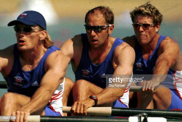 Tim Foster Steven Redgrave and James Cracknell of Great Britain in the Men's coxless four qualifying round first heat during the Sydney 2000 Olympic...