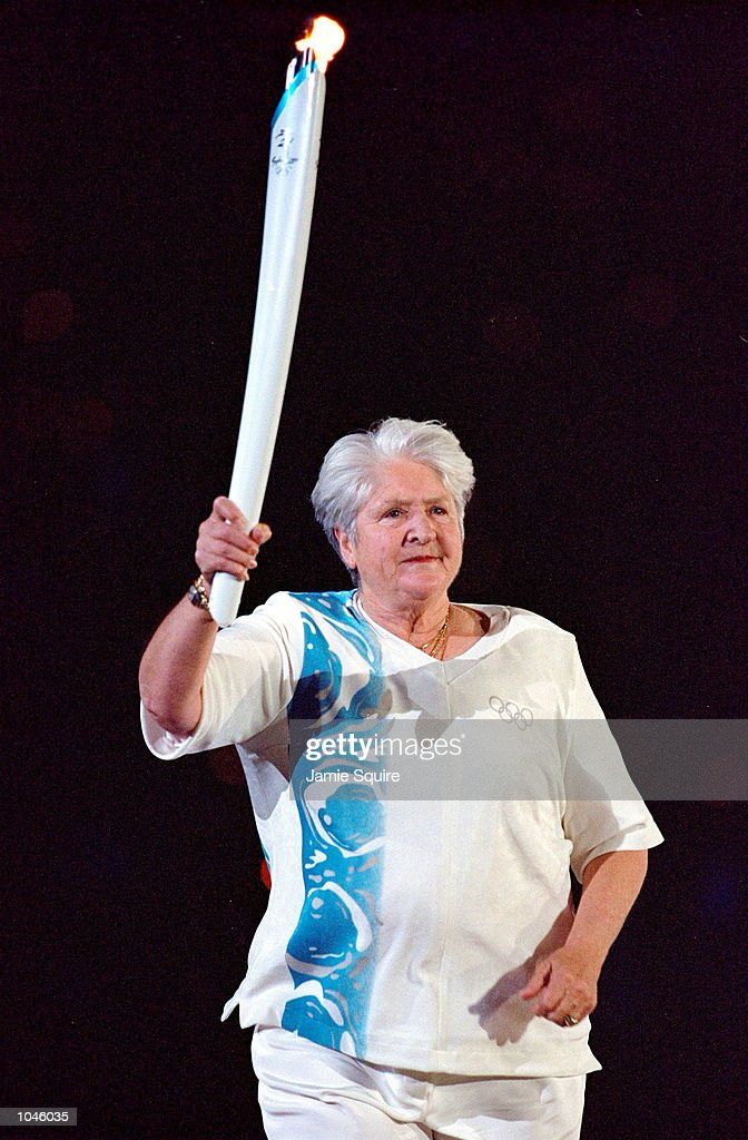 Torch Bearer Dawn Fraser of Australia during the Opening Ceremony of the Sydney 2000 Olympic Games at the Olympic Stadium in Homebush Bay, Sydney, Australia. Mandatory Credit: Jamie Squire /Allsport