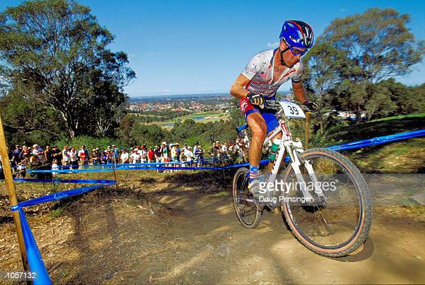 Travis Brown of the USA in action during the Mens Cross Country Mountain Biking at the Fairfield City Farm on Day Nine of the Sydney 2000 Olympic...