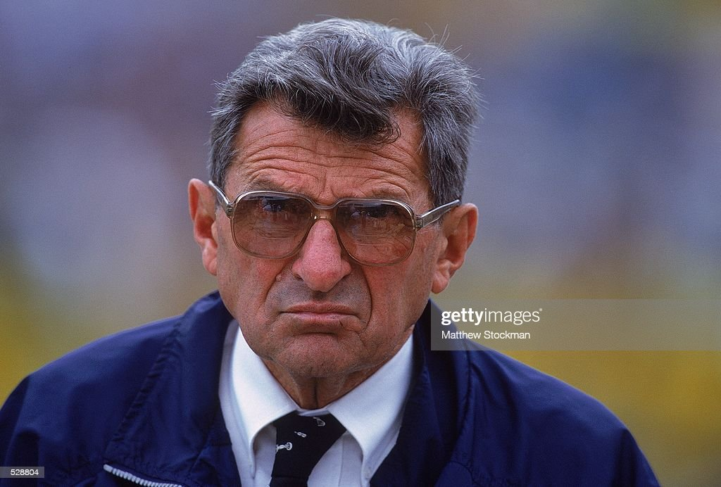 A close up of Head Coach <a gi-track='captionPersonalityLinkClicked' href=/galleries/search?phrase=Joe+Paterno&family=editorial&specificpeople=623059 ng-click='$event.stopPropagation()'>Joe Paterno</a> of the Pennsylvania State Nittany Lions looking on during the game against the Iowa Hawkeyes at the Kinnick Stadium in Iowa City, Iowa. The Hawkeyes defeated the Nittany Lions 24-18.Mandatory Credit: Matthew Stockman /Allsport