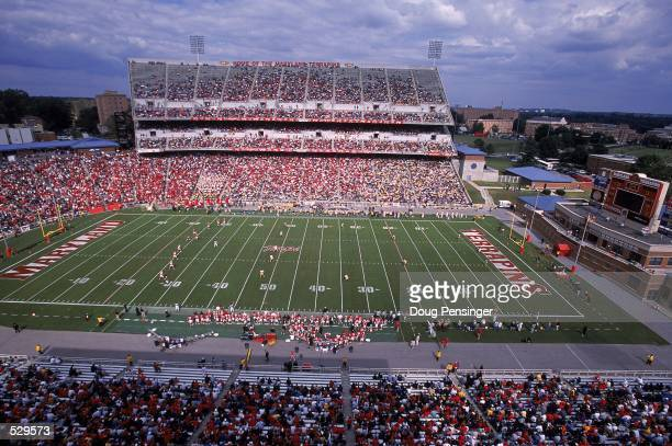 A general view of the game between the Maryland Terrapins and the West Virginia Mountainieers at Byrd Stadium in College Park Maryland The Terrapins...