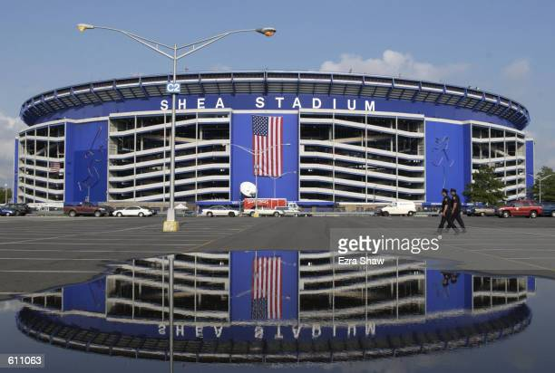 A gigantic American Flag is hung outside Shea Stadium as the Mets play the Atlanta Braves tonight in the first major sporting event in the New York...