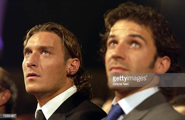 Alessandro Del Piero of Juventus and Francesco Totti of Roma attending the Italian footballer of the year awards in Parma Italy DIGITAL CAMERA...
