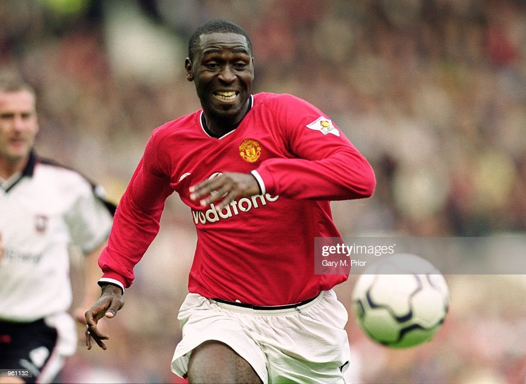 Andy Cole of Man Utd chases after the ball during the FA Barclaycard Premiership match between Manchester United and Ipswich Town played at Old Trafford in Manchester, England. Man Utd won the match 4 - 0. \ Mandatory Credit: Gary M Prior /Allsport