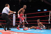 Bernard Hopkins knocks out Felix Trinidad in the 12th round of their middleweight championship unification fight at Madison Square Garden in New York...