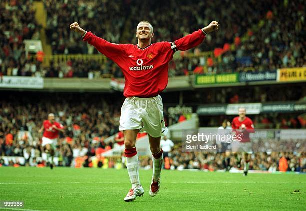 Dacid Beckham of Manchester United celebrates after scoring the 5th goal during the FA Barclaycard Premiership match between Tottenham Hotspur and...