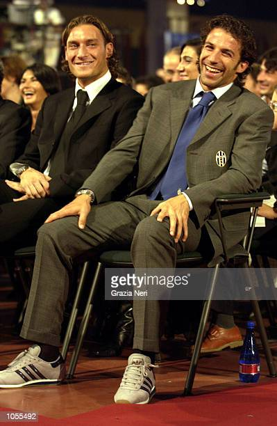 Francesco Totti of Roma and Alessandro Del Piero of Juventus attending the Italian footballer of the year awards in Parma Italy DIGITAL CAMERA...