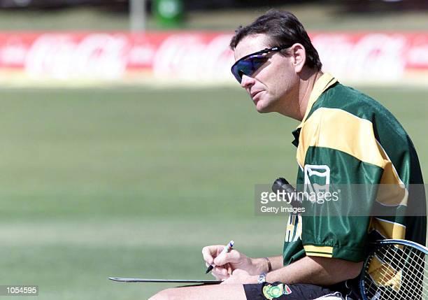 Graham Ford makes notes during training during the South Africa Cricket tour to Zimbabwe Buluwayo Zimbabwe DIGITAL IMAGE Mandatory Credit Touchline...