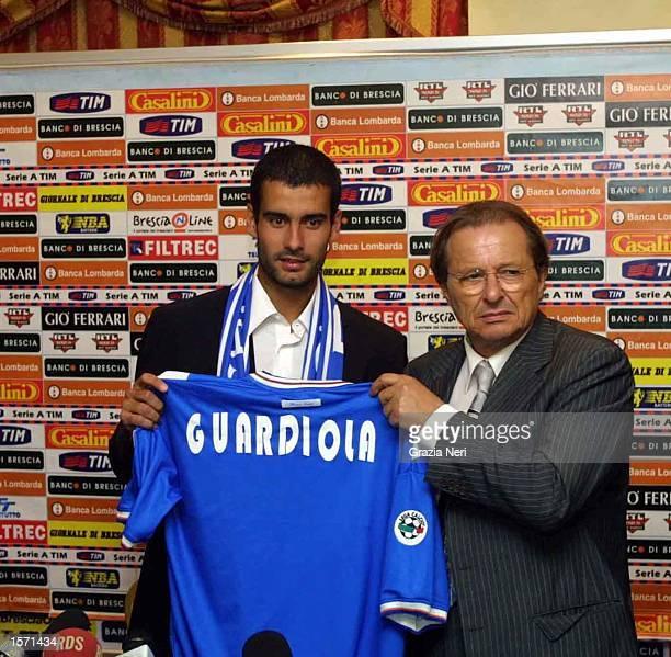 Guardiola new signing for Italalian football club Brescia here shaking hands with president of Brescia Corioni DIGITAL IMAGE Mandatory Credit Grazia...