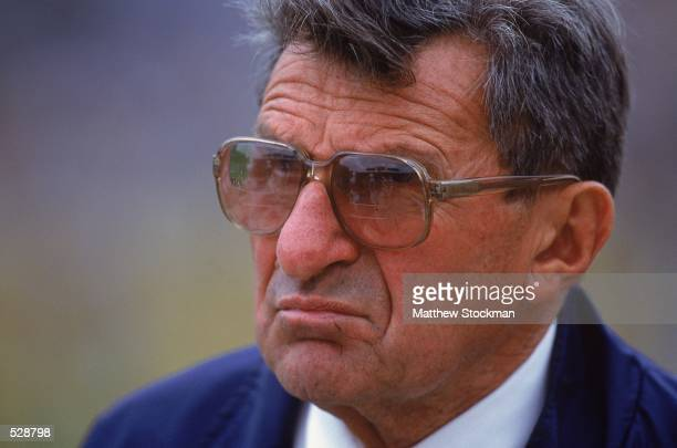 Head Coach Joe Paterno of the Pennsylvania State Nittany Lions watches the action during the game against the Iowa Hawkeyes at the Kinnick Stadium in...