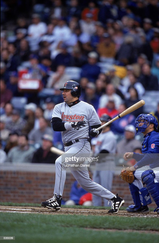 Houston Astros third baseman Vinny Castilla swings the bat during the game between the Houston Astros and the Chicago Cubs at Wriglry Field in...