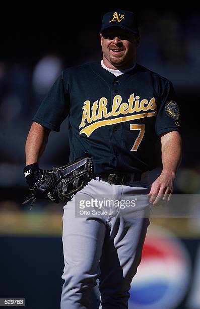 Jeremy Giambi of the Oakland Athletics walks out on the field during the game against the Seattle Mariners at Safeco Field in Seattle Washington The...