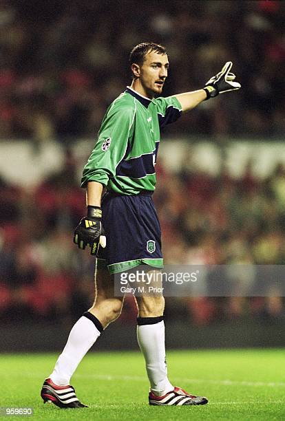 Jerzy Dudek of Liverpool in action during the UEFA Champions League Group B match against Boavista played at Anfield in Liverpool England The match...