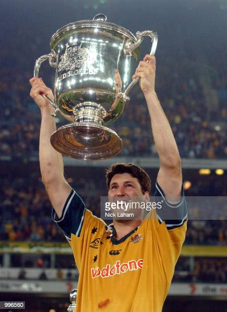 John Eales of the Wallabies holds the Bledisloe Cup aloft after victory in the Tri Nations rugby union match between the Australian Wallabies and the...