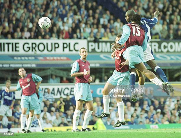 Kevin Campbell of Everton jumps to score during the match between Everton and West Ham United in the FA Barclaycard Premiership at Goodison Park...