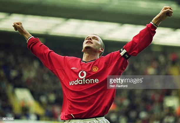 Manchester United Captain David Beckham celebrates scoring Man Utd's 5th goal during the FA Barclaycard Premiership match against Tottenham Hotspur...