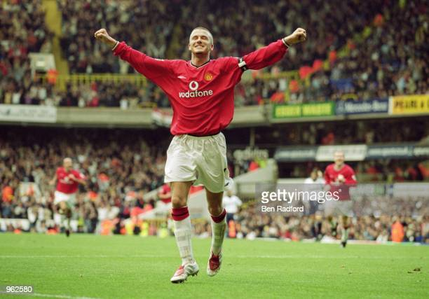 Manchester United Captain David Beckham celebrates scoring their 5th goal during the FA Barclaycard Premiership match against Tottenham Hotspur...