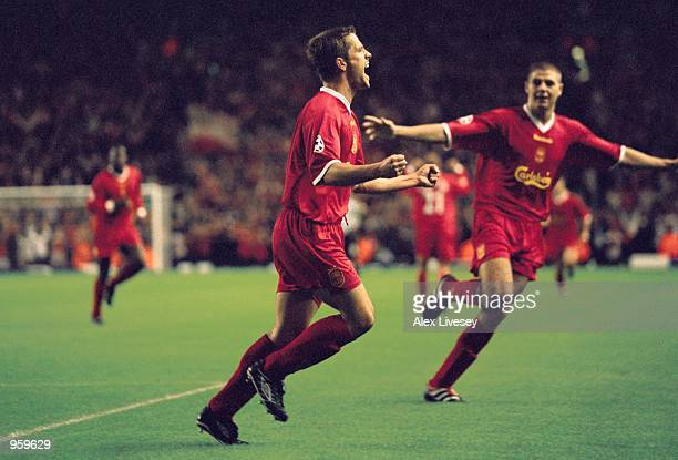 Michael Owen of Liverpool celebrates scoring a goal during the UEFA Champions League match against Boavista played at Anfield in Liverpool England...