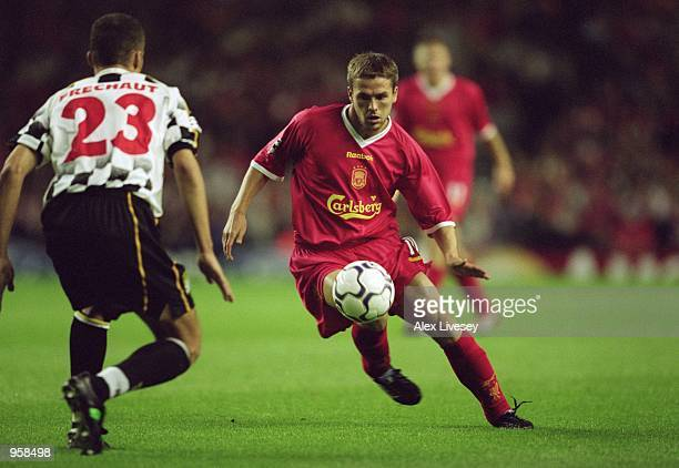 Michael Owen of Liverpool runs at Frechaut of Boavista during the UEFA Champions League Group B match played at Anfield in Liverpool England The...