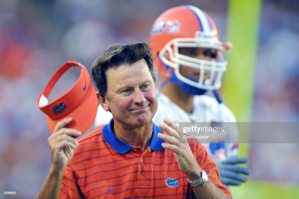 <a gi-track='captionPersonalityLinkClicked' href=/galleries/search?phrase=Steve+Spurrier&family=editorial&specificpeople=228031 ng-click='$event.stopPropagation()'>Steve Spurrier</a> coach of the Florida Gators watches the action against the La.-Monroe Indians at Florida Field in Gainesville, Florida. The Gators defeated the Indians 55-6. DIGITAL IMAGE. Mandatory Credit: Scott Halleran/Allsport.